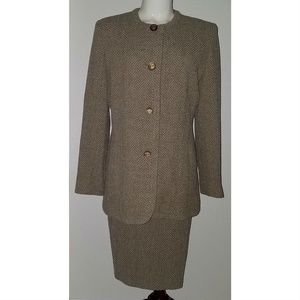 Cache D'Or 2-Pc Wool Blend Suit Skirt Jacket Brown